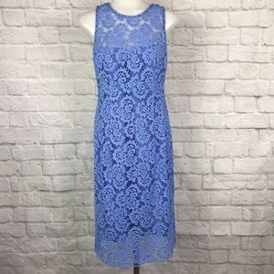 Nanette Lepore Size 8 Lace Dress Blue Knee-Length